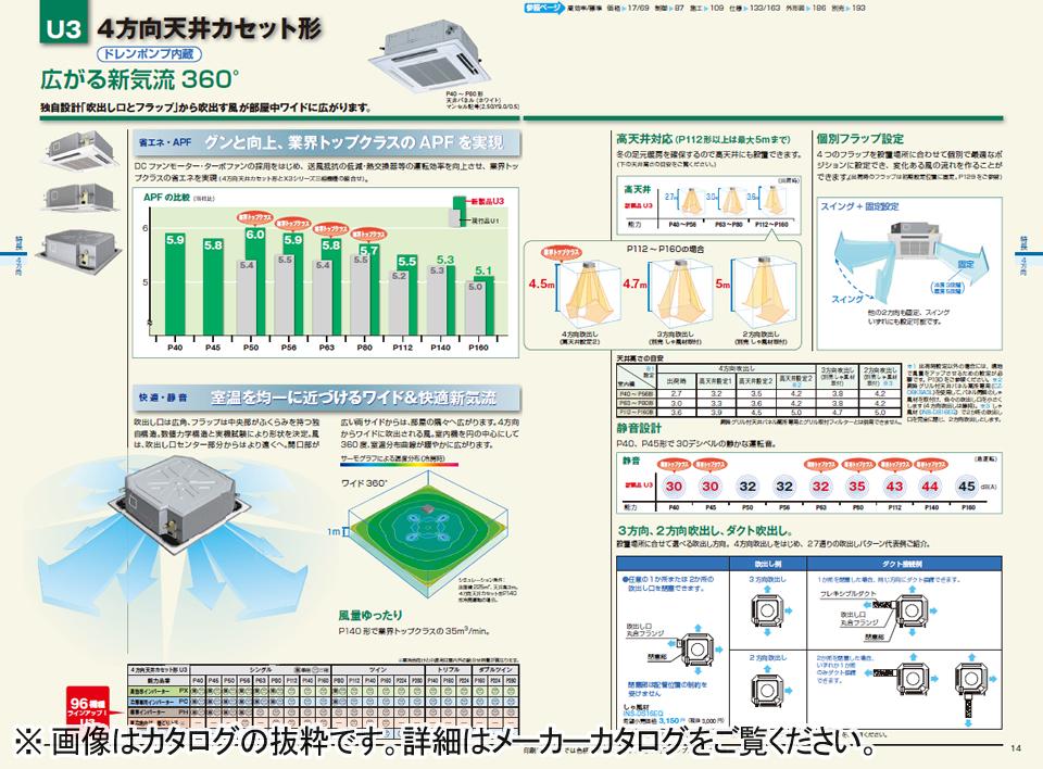 4方向天井カセット形の業務用エアコン「広がる新気流360°」